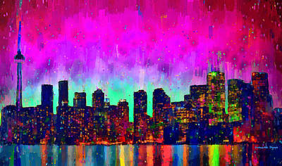 Intense Digital Art - Toronto Skyline 19 - Da by Leonardo Digenio