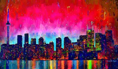 Lake Digital Art - Toronto Skyline 20 - Da by Leonardo Digenio