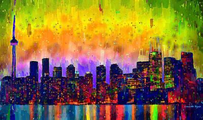 Tower Painting - Toronto Skyline 21 - Pa by Leonardo Digenio