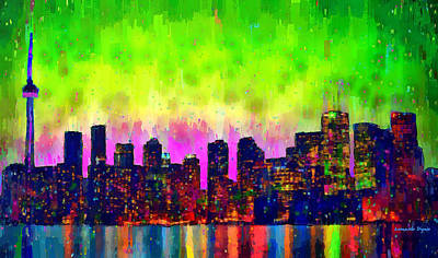 Ontario Digital Art - Toronto Skyline 22 - Da by Leonardo Digenio