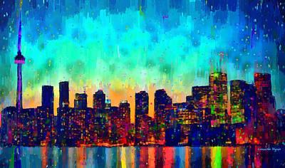 Ontario Digital Art - Toronto Skyline 23 - Da by Leonardo Digenio