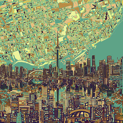 Painting - Toronto Skyline Abstract 7 by Bekim Art