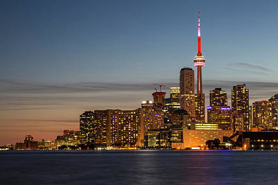 Coastal Photograph - Toronto Skyline At Dusk by Adam Romanowicz