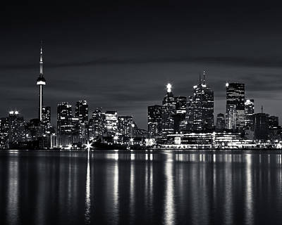 Photograph - Toronto Skyline At Night From Polson St No 2 Black And White Ver by Brian Carson