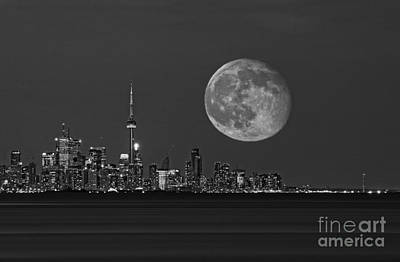Photograph - Toronto Skyline With Supermoon by Charline Xia