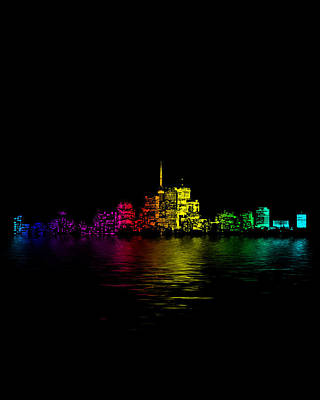 Digital Art - Toronto Skyline Gradient Flood by Brian Carson