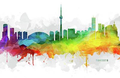 Ontario Digital Art - Toronto Skyline Mmr-caonto05 by Aged Pixel