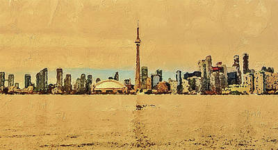 Digital Art - Toronto Skyline Panorama by PixBreak Art