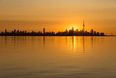 Photograph - Toronto Skyline - Three Suns Over Liquid Silk by Georgia Mizuleva
