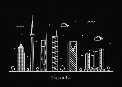 Drawing - Toronto Skyline Travel Poster by Inspirowl Design