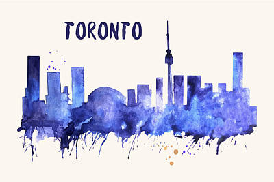 Painting - Toronto Skyline Watercolor Poster - Cityscape Painting Artwork by Beautify My Walls