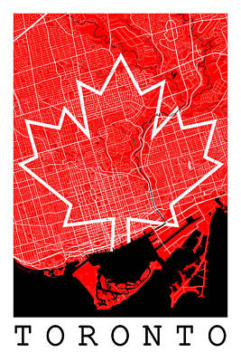 Toronto Maple Leafs Digital Art - Toronto Street Map - Toronto Canada Road Map Art On Canada Flag Symbols by Jurq Studio