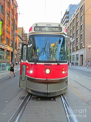 Tram Red Painting - Toronto Streetcar  by John Malone