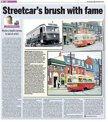 Art Print featuring the painting Toronto Sun Article Streetcars Brush With Fame by Kenneth M Kirsch