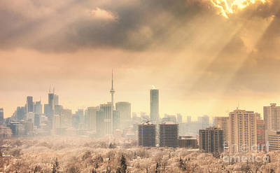 Photograph - Toronto Winter Skyline With Sunrays by Charline Xia