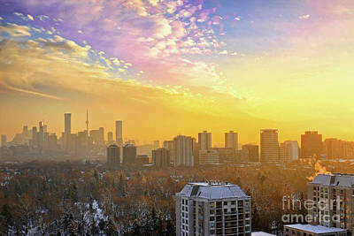 Photograph - Toronto Winter Sunset Clouds by Charline Xia