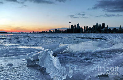 Photograph - Toronto With Frozen Lake Ontario by Charline Xia