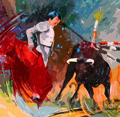 Torero Wall Art - Painting - Toroscape 05 by Miki De Goodaboom