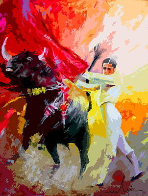 Torero Wall Art - Painting - Toroscape 41 by Miki De Goodaboom