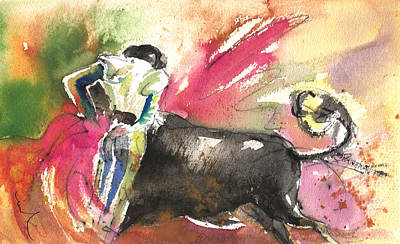 Bulls Painting - Bullfighting With Grace by Miki De Goodaboom