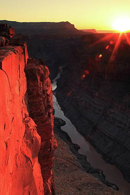 Photograph - Toroweap Sunrise Starburst, Grand Canyon by Roupen  Baker