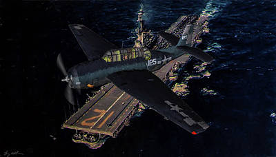 Torpedo Squadron Seventeen - Oil Print by Tommy Anderson