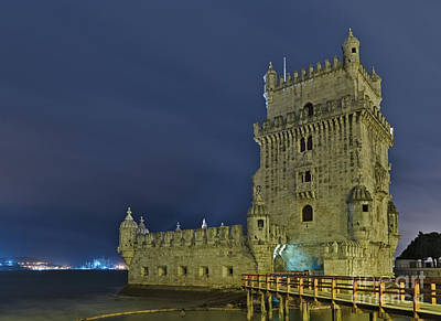 Photograph - Torre De Belem View At Night In Lisbon by Angelo DeVal