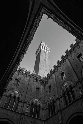 Photograph - Torre Del Mangia Siena Italy Black And White  by John McGraw