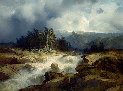 Switzerland Painting - Torrent By Mountain Storm by Mountain Dreams