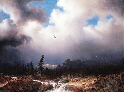 Larson Painting - Torrent In A Landscape With A Stormy Sky by MotionAge Designs