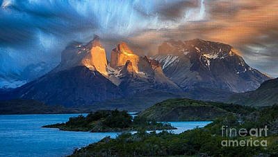 Digital Art - Torres Del Paine National Park, Chile by Rod Jellison