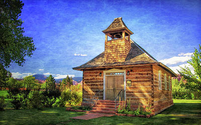 Photograph - Torrey Log Church And Schoolhouse by Carolyn Derstine
