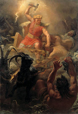 Norse Painting - Tor's Fight With The Giants by Marten Eskil Winge