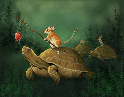 Caskey Wall Art - Painting - Tortoise Riders by Bethany Caskey