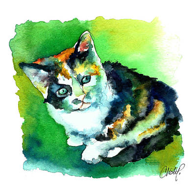 Painting - Tortoise Shell Kitten by Christy Freeman Stark