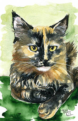 Painting - Tortoiseshell Maine Coon Portrait by Dora Hathazi Mendes