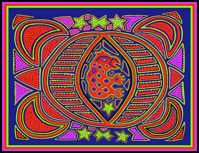 Digital Art - Tortuga Shaman Spirits by Vagabond Folk Art - Virginia Vivier
