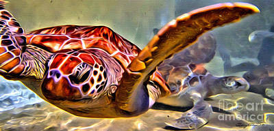 Reptiles Royalty-Free and Rights-Managed Images - Tortuga Swim by Carey Chen