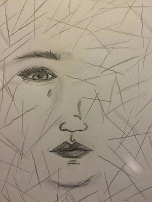 Tears Drawing - Tortured by Amber Carter