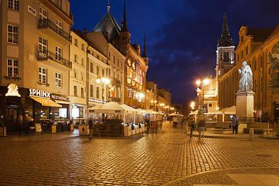 Torun Old Town Market Square At Night Art Print by Artur Bogacki