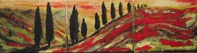 Tuscan Sunset Painting - 'toscano.' Tryptich. by Paula  Heffel