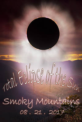 Digital Art - Total Eclipse Of The Sun Smoky Mountains by Debra and Dave Vanderlaan