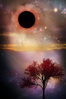 Park Scene Digital Art - Total Eclipse Of The Sun Tree Art by Debra and Dave Vanderlaan