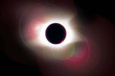 Photograph - Total Eclipse Of The Sun With Solar Flares by Debra and Dave Vanderlaan