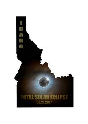 Corona Digital Art - Total Solar Eclipse In Idaho Map Outline by David Gn