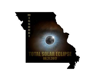 Corona Digital Art - Total Solar Eclipse In Missouri Map Outline by David Gn