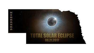Corona Photograph - Total Solar Eclipse In Nebraska Map Outline by David Gn