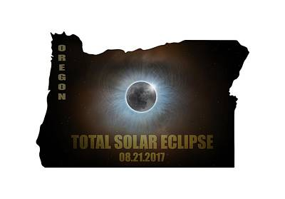Corona Photograph - Total Solar Eclipse In Oregon Map Outline by David Gn