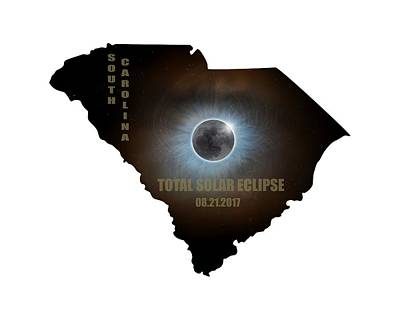 Sky Photograph - Total Solar Eclipse In South Carolina Map Outline by David Gn