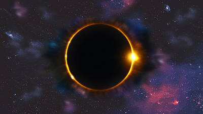 Total Solar Eclipse In Space Art Print